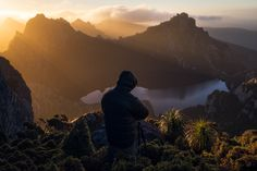 Another Day At The Office - Lake Oberon, Tasmania.  Back in February we spent 7 days hiking and camping around this beautiful area of South-West Tasmania. Here is Chris Wiewióra photographing above Lake Oberon bathed in morning light.