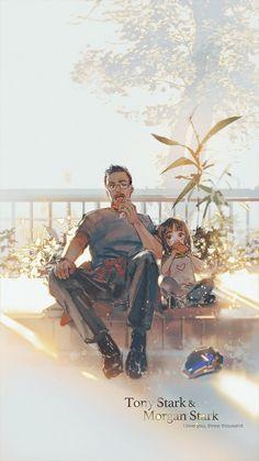 Hand painted Iron man and his daughter background. Marvel Avengers, Marvel Comics, Marvel Fan Art, Marvel Funny, Marvel Memes, Spiderman, Batman, Robert Downey Jr, Comic Art