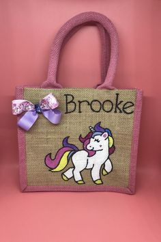 Personalised Unicorn Pink Jute Bag Any Name | Clothes, Shoes & Accessories, Women's Handbags | eBay!