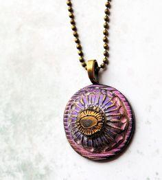 Mauve Flower2 stylized flower focal bead art bead by studiotambria, $15.00