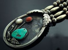 Necklace | Designer ? (Vintage Navajo) Sterling Silver, Turquoise, Coral and Mother of Pearl