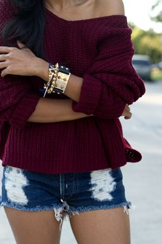 #oxblood sweater blue and white denim cutoff shorts off the shoulder and cuff #accessories #photography
