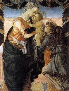 Sandro Botticelli, Madonna con Bambino e un angelo, 1465-1467, tempera su tavola, Ajaccio, Museo Fesch. It is one of the first works attributed to the artist, in which there is a strict adherence to the ways of Filippo Lippi, his teacher. Mary bends to take the child from an angel. In the background is a pink wall, and garlands hanging overhead, reminiscent of the Madonna and Child by Filippo Lippi (1465).