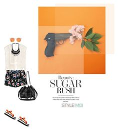 """orange me"" by yenybarriot ❤ liked on Polyvore featuring Karen Walker, Teva and StyleMoiPromoter"