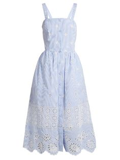 Sea Exploded Eyelet button-front cotton dress