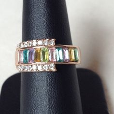 ✨✨✨ ROSE GOLD RING ✨✨✨ New; never worn; rose gold-plated; multicolor baguette Austrian crystals Jewelry Rings
