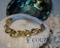 Light Blue Nautical Silk Rope Chunky Gold Chain by CLCouture