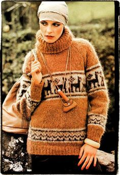 a vintage English knitting pattern. It is a chunky sweater with a traditional Peruvian llama design around the body and sleeves. Seventies Fashion, 1960s Fashion, Vogue Fashion, Funky Fashion, Fashion Fall, Cowichan Sweater, Sweater Knitting Patterns, Knitting Ideas, Hand Knitting