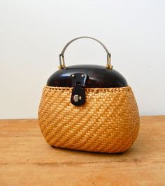 Vintage 1950s Basket Bag - Straw  Lucite Handbag
