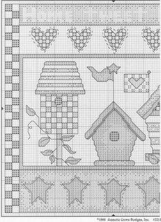 Schema punto croce Casa Uccellino 1/2