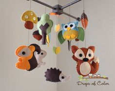 """Baby Crib Mobile - Baby Mobile - Nursery Forest Crib Mobile - """"Forest Little Creatures"""" (You Can Pick Your Colors) by dropsofcolorshop on Etsy https://www.etsy.com/listing/110674840/baby-crib-mobile-baby-mobile-nursery"""