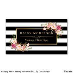 Makeup Artist Beauty Salon Gold Vintage Floral Standard Business Card