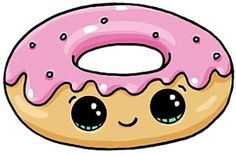 Doughnut Cute Food Drawings, Cute Kawaii Drawings, Kawaii Doodles, Cute Doodles, Kawaii Art, Easy Drawings, Cartoon Drawings, Cute Cartoon, Donut Cartoon