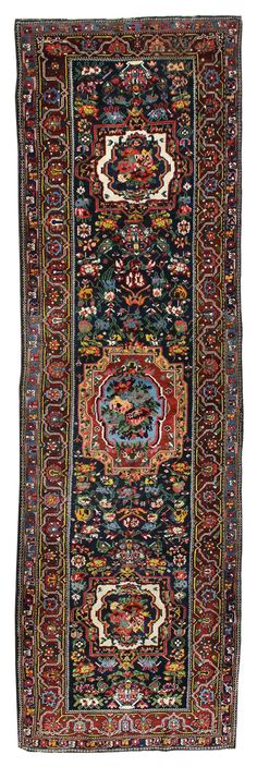 Oriental Rug Runners: Wide Gallery: Antique Bakhtiari Wide Runner, Hand-knotted in Persia; size: 4 feet 0 inch(es) x 13 feet 2 inch(es)