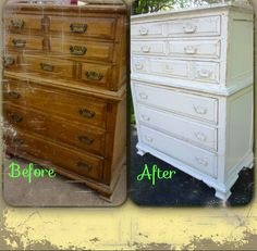 Before and After....Hand painted antique white distressed dresser/chest of drawers