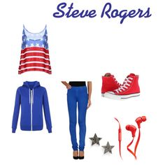 Captain America inspierd outfit  by wolfie112-99 on Polyvore featuring polyvore fashion style Converse Dana Rebecca Designs Merkury Innovations