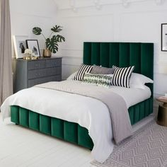 The elegant Tosca Bed channels Art Deco chic, with sharp lines and an impressive, towering headboard. And the beautiful, deep fluted panels which wrap around the sprung slatted base and headboard create a sense of depth. The deep bed bas Green Headboard, Green Bedding, Bedroom Green, Emerald Green Bedrooms, Panel Headboard, White Bedding, Art Deco Bedroom, Home Decor Bedroom, Modern Bedroom