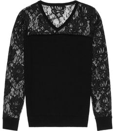 Womens Black Floral Lace Jumper - Reiss Chloe