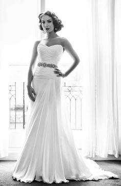 I love the vintage inspired look here-so figure flattering!   ~Maggie  rococo-n-stuff:    NAOMI NEOHLoveletters Bridal Collection