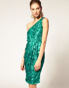 emerald sequined one shoulder dress