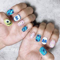 """Akane on Instagram: """"Monsters Inc nail ・ ・ ・ モンスターズインク ・ ・ ・ 可愛いお客様💕 ありがとうございました✨ またお逢い出来る日を楽しみにお待ちしております🙇♀️ ・ ・ ・  #nail #nails #nailart #handpeint #新潟ネイルサロン…"""" Cute Acrylic Nails, Cute Nail Art, Cute Nails, My Nails, Disney Inspired Nails, Disney Nails, Nail Designs Spring, Cute Nail Designs, Monster Inc Nails"""