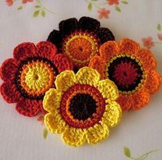 Items similar to Pure cotton Applique--( 4 pcs ) on Etsy Diy Crochet Flowers, Crochet Sunflower, Crochet Cross, Crochet Chart, Crochet Motif Patterns, Knitting Patterns, Tops Tejidos A Crochet, Crochet Embellishments, Crochet Cushions
