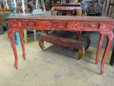 Balinese Furniture Timber Console Sideboard Long Hall Table Red Rustic Finish