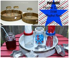 Patriotic Home Decor with Thrifted Finds - Star Mason Jars and Rustic Farmhouse Trays / Clockwork Interiors