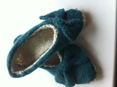 Jem Weston slippers I knitted in Rowan Felted Tweed.