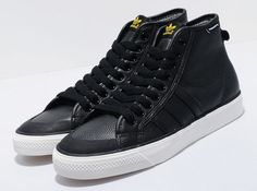 adidas nizza hi black basketball leather