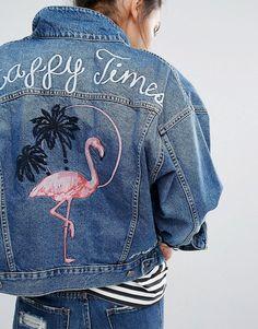 Discover Fashion Online http://m.asos.com/pullbear/pullbear-denim-jacket-in-vintage-wash-with-flamingo-motif/prd/6867650?iid=6867650