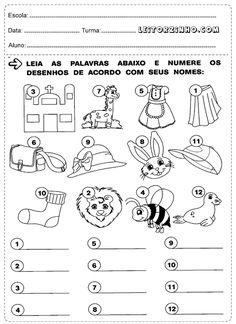 Leia as palavras e numere os desenhos de acordo com seus nomes
