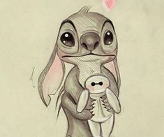 Image in Immagini collection by Chiara Cuccia - Moyiki Sites Disney Character Drawings, Disney Drawings Sketches, Cute Disney Drawings, Animal Sketches, Cool Art Drawings, Cartoon Drawings, Easy Drawings, Drawing Sketches, Stitch Drawing