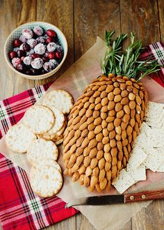 Cheese and almonds that looks like a pineapple!  Better than an old-fashioned cheese ball any day! #food