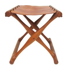 Poul Hundevad Guldhoj folding stool in teak and leather $ 1800