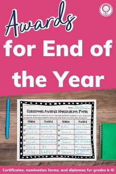 This set includes 202 pages of award certificates, teacher nomination forms, student nomination forms, note home to parents, and diplomas for grades K-5. I have also added blank award templates for you to add in your own award titles. There are also editable templates of ALL awards included so that you can type directly onto each award. With so many different options, you can easily find an award to fit every student in your classroom. Digital versions also included! #endofyear Google Classroo, Award Names, Award Template, 5th Grade Classroom, Award Certificates, End Of Year, 5th Grades, Grade 1, Homeschool