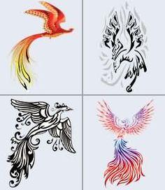 Black And Color Phoenix Tattoos Design