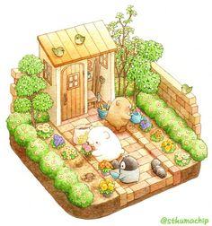 Just a small garden ghost Kawaii Drawings, Cute Drawings, Image Deco, Isometric Art, Kawaii Illustration, Bear Art, Kawaii Art, Cute Bears, Art Plastique