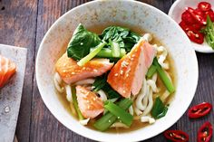 Miso broth with sesame salmon & udon noodles http://www.taste.com.au/recipes/29045/miso+broth+with+sesame+salmon+udon+noodles