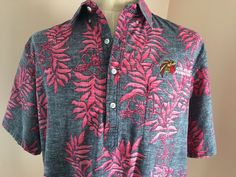 Go Barefoot Floral Hawaiian Shirt Pink Gray Aztec Athletic Foundation USA 2XL #GoBarefoot #ButtonFront