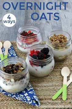 Junk Food OVERNIGHT OATS -- Make breakfast quick and healthy with these overnight oats recipes - 4 ways! Homemade Breakfast, How To Make Breakfast, Second Breakfast, Breakfast Time, Breakfast Dishes, Breakfast Recipes, Breakfast Ideas, Free Breakfast, Brunch Recipes