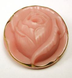 VIntage peach rose button trimmed in gold
