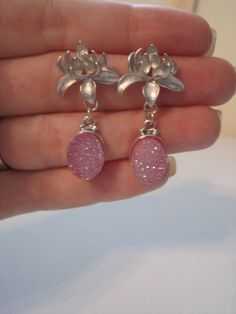 Lotus Flower & Druzy Earrings by PPJewelry on Etsy, $30.23