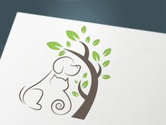 Cat and dog under tree by UVAconcept on @creativemarket