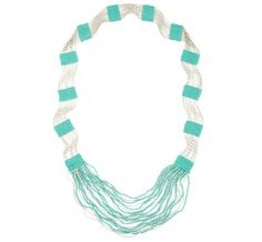mint and white seed beaded necklace. this has great color and texture