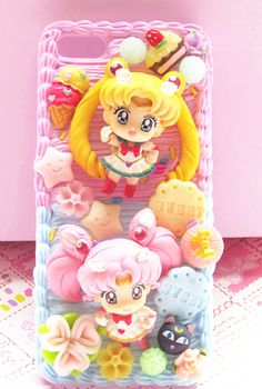 Sailor Moon and Sailor Chibi Moon phone case decoden for iPhone, Samsung, Sony, LG, Moto and others - Thumbnail 1