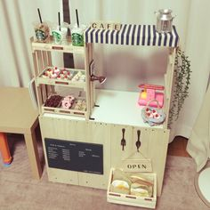 ままごとカフェ/手作り/セリア/DIY/カラーボックス/リビング…などのインテリア実例 - RoomClip(ルームクリップ)