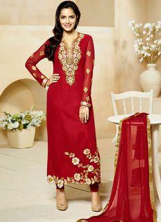 Dark Red Georgette Straight Suit