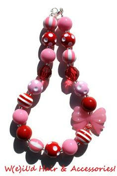 (SOLD) Valentine's Day Chunky Necklace - See more at www.facebook.com/WeildHair - Bubblegum Necklace - Gumball Necklace - Red and Pink