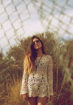 bohemian crochet dress
